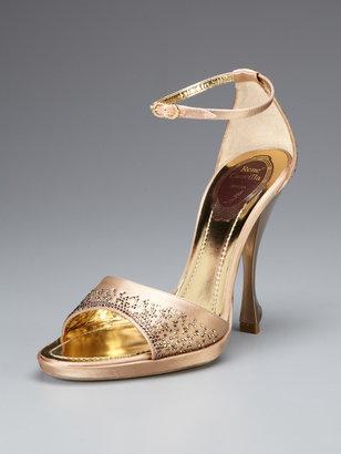 Rene Caovilla Embellished Satin Ankle Strap Sandal