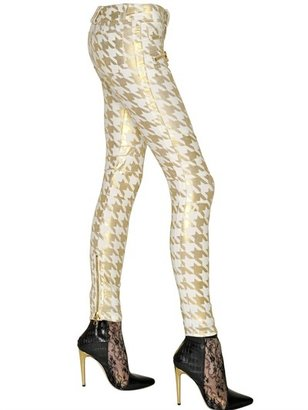 Balmain Houndstooth Stretch Denim Biker Jeans