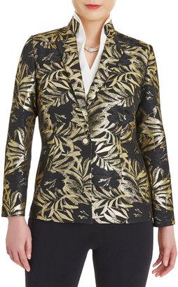 Misook Gold Foil Botanical Blazer