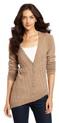 Design History Women's 100% Cashmere Cable Cardigan Sweater