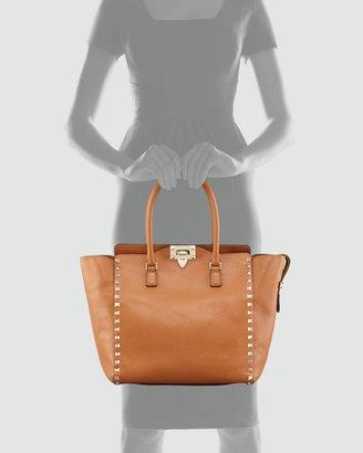 Valentino Rockstud Double Handle Tote Bag, Beige