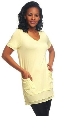 Logo By Lori Goldstein LOGO by Lori Goldstein Petite Chiffon Trim Tee with Front Pockets