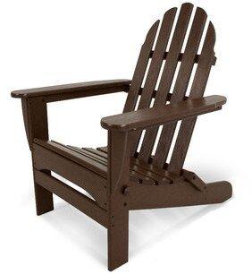 Polywood Classic Plastic Folding Adirondack Chair Color: Mahogany