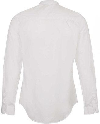Topman White Stand Collar Long Sleeve Smart Shirt