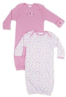 Gerber Newborn Girls' 2 Pack Elephant Gown - Pink 0-6 M