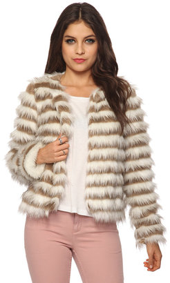 Forever 21 Striped Faux Fur Jacket