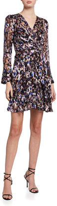 Milly Chelsea Long-Sleeve Mosaic Silk Burnout Dress