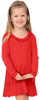Red Long-Sleeve Sunflower Dress - Toddler & Girls