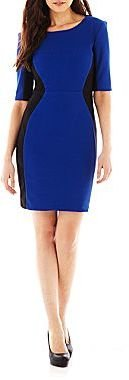 JCPenney Bisou Bisou® Elbow-Sleeve Colorblock Dress