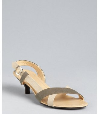 Hogan beige and green canvas strappy heeled sandals