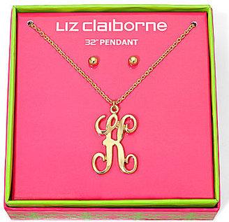 Liz Claiborne Gold-Tone Initial K Pendant Necklace & Stud Earrings Boxed Set