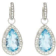 Jude Frances Large Pear Blue Topaz Earring Charms with White Sapphires - Sterling Silver