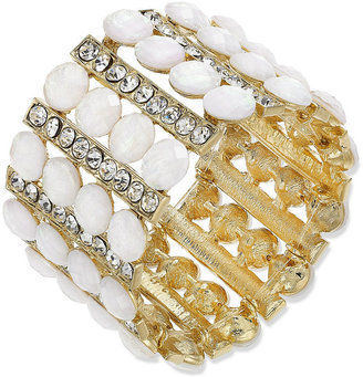 INC International Concepts Gold-Tone White Stone and Crystal Stretch Bracelet