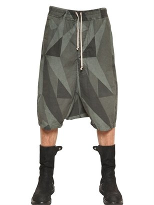 Rick Owens Camouflage Canvas Low Crotch Shorts