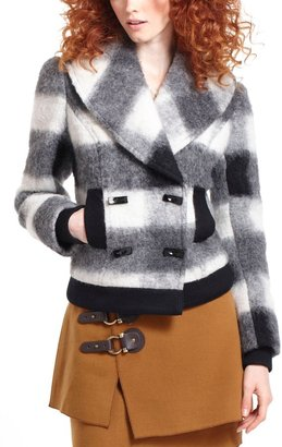Anthropologie Tartan Cropped Moto Jacket