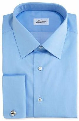 Brioni Solid French-Cuff Dress Shirt, Blue