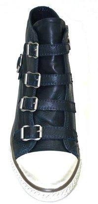 "Ash Genial"" Petroleum (Blue) Leather Wedge High Top Sneaker"