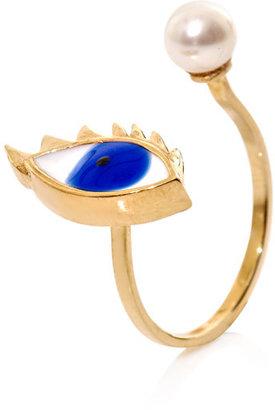 Delfina Delettrez Gold, pearl & enamel ring