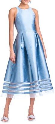Sachin + Babi Jewel-Neck Sleeveless Mikado Fit-&-Flare Dress
