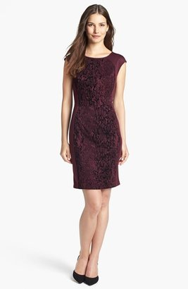 Donna Ricco Jacquard Panel Sheath Dress