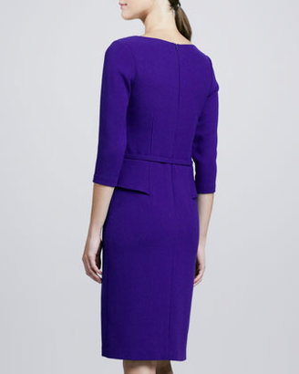 David Meister 3/4-Sleeve Belted Peplum Dress
