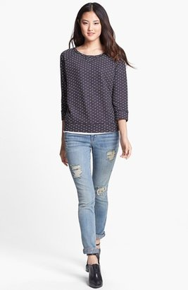 Caslon Three Quarter Sleeve Cotton Sweatshirt