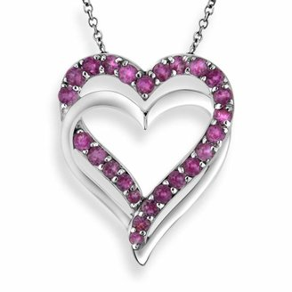 Two Hearts Forever One Sterling Silver Lab-Created Pink Sapphire Double Heart Pendant $225 thestylecure.com