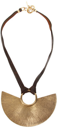 Citrine by the Stones Short Luna Pendant on Leather Necklace in Brown