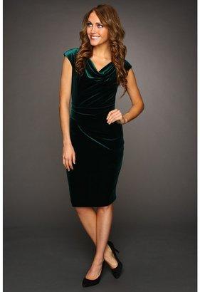 Vince Camuto Velvet Cowl Neck Dress (Dark Green) - Apparel