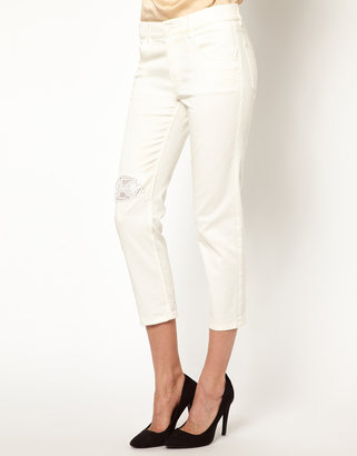 Band Of Outsiders Girl.by Boyfriend Jeans with Lace Inserts
