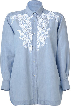 Ermanno Scervino Pale Blue Cotton-Linen Lace Embroidered Tunic-Style Shirt