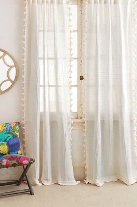 Anthropologie Pom Tassel Curtain By in Beige Size 50X63