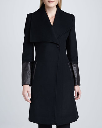 Elie Tahari Carolotta Leather-Cuff Coat