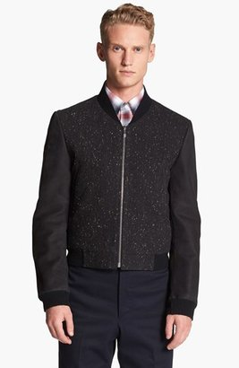 Thom Browne Leather Sleeve Donegal Bomber Jacket 2