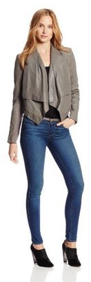 BCBGMAXAZRIA Women's Drape Front Leather Jacket