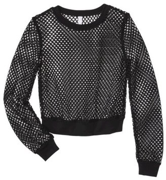 Xhilaration Junior's Mesh Cropped Sweatshirt - Black