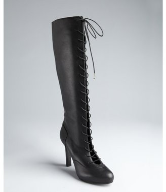 Alexander McQueen black leather cutout lace-up tall platform boots