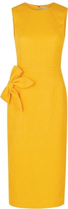 Rebecca Vallance Andie Yellow Bow-embellished Midi Dress