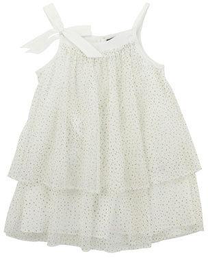 Lili Gaufrette Glitter Layered Tulle Dress, Ivory, 8Y-10Y