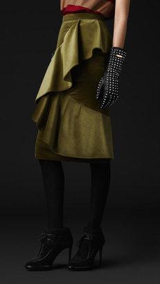 Burberry Asymmetric Draped Velvet Skirt