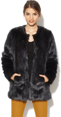 Velvet Faux Fur Long Jacket