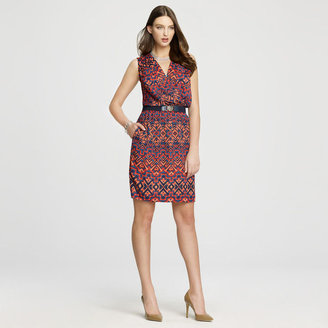 Anne Klein Ikat Printed V Neck Dress
