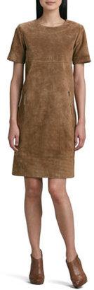 Neiman Marcus Suede Zip-Pocket Shift Dress