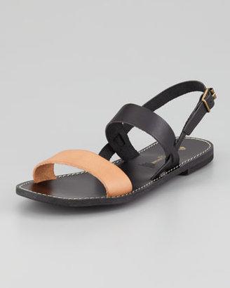 Jacques Levine Stella Flat Colorblock Sandal, Black/Blush