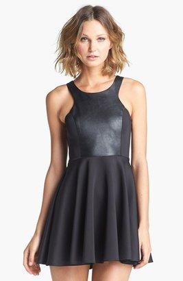 Blaque Label Faux Leather Front Fit & Flare Dress
