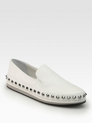Prada Studded Leather Loafers