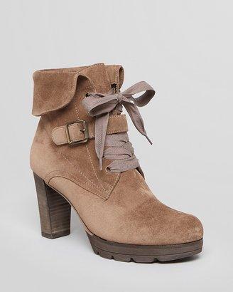 Paul Green Lace Up Platform Booties - Onyx High Heel