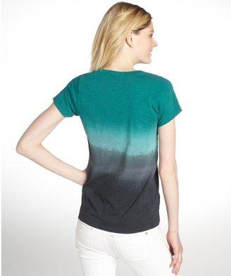 LnA Green Short Sleeve Scoop Neck Dipdye Cotton T-Shirt