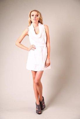 Corey Lynn Calter White Mallory Fringe Cowl Mini Shift Dress