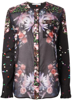 Givenchy Rose Print Collarless Shirt